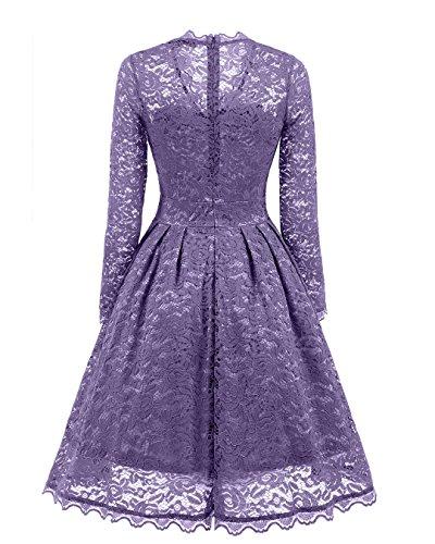 elegante anni Vestito Abito cocktail ginocchio XXL Ball Donna festa BEIJG Taglia da da al Abito Vintage Gown Cocktail S Viola '50 da FnwIIBqtZv