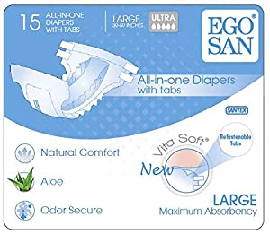 EGOSAN Ultra Incontinence Adult Diaper Brief Maximum Absorbency And Adjustable Tabs for Men and Women by Santex