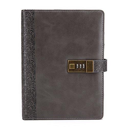 Vintage Leaf Leather Cover Loose Leaf Blank Journal Diary (Grey) - 1