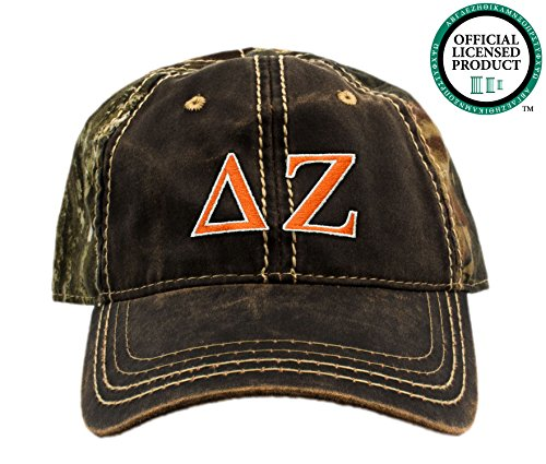 Delta Zeta Embroidered Camo Baseball Hat, Various Thread Colors