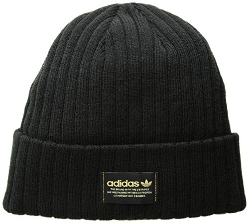 (adidas Men's Originals Rib Beanie, Black/Gold, One Size)