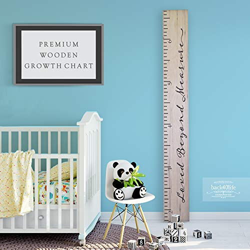 Back40Life - Premium Series - (Loved Beyond Measure) Wooden Growth Chart Height Ruler (Weathered Natural)]()