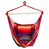 SUNMERIT Hanging Rope Hammock Chair Swing Seat for Indoor or Outdoor Spaces,275 lbs Capacity,2 Seat Cushions Included (Red & Yellow Stripes) Review