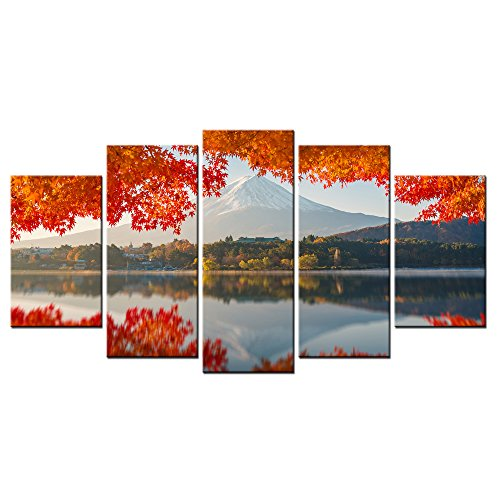 VVOVV Wall Decor - Contemporary Art Landscape Paintings Canvas Lake Scenery Under Mount Fuji Beauty World Scenery Wall Poster Decorative Painting 60x32inch,unframed