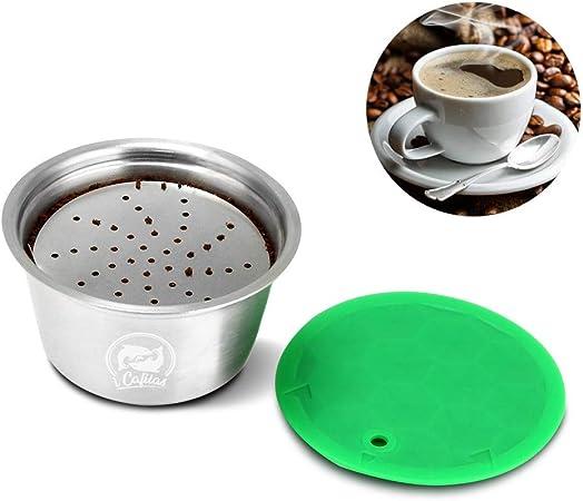 Reutilizable Recargable café Cápsula, FOXNSK Inoxidable Acero Metal Recargable café, Adecuado Cápsula para Dolce Gusto Máquina con 1 Cuchara y 1 Cepillo: Amazon.es: Hogar