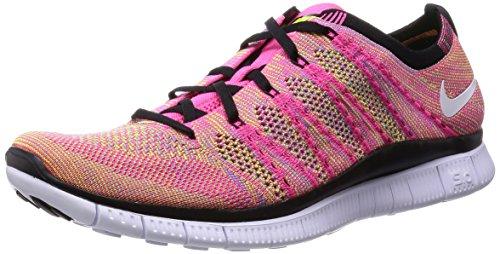 Nike Mens Flyknit Libre De Chaussures De Course Flash Rose, Blc-vlt-bl