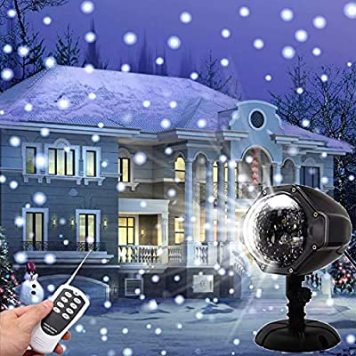 LED Snow Falling Lights, YINLEE Christmas Projector Lights Indoor Outdoor Waterproof Snowflake Rotating Landscape Lamp with Remote Control Decorative Lighting for Wedding Halloween Patio Garden