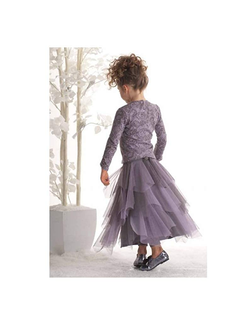 4 Biscotti Girls Stunning Lavender Victorian Scroll Top /& Long Tiered Tulle Skirt