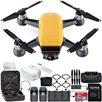 DJI Spark Portable Mini Drone Quadcopter Fly More Combo Virtual Reality VR FPV POV Experience Ultimate Bundle (Sunrise Yellow)