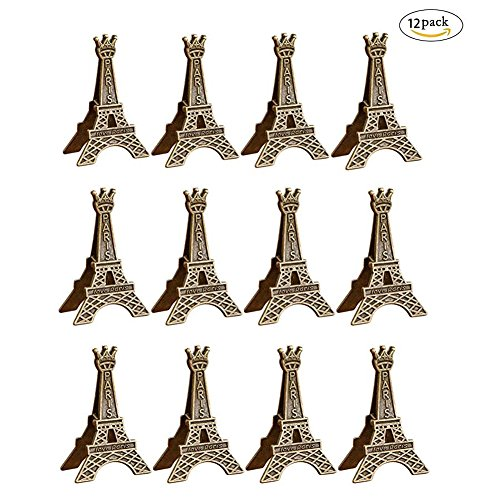 (Brave Tour 12 Pcs Eiffel Tower Photo Holder, Display Memo Clip Holder, Stand Card Paper Note Clip for Office Home Decoration)