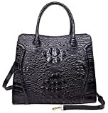 Pifuren Women Top Handle Handbags Large Satchel Bag Embossed Crocodile Handbag M1117 (One Size, Black)