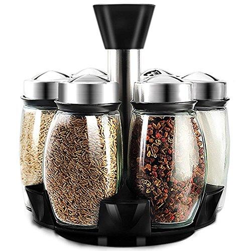 Wuudi vetro condimento bottiglia set di 6 rotante condimento serbatoio bottiglia condimento barattolo da cucina forniture 120 ml
