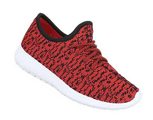 Damen Sneakers Schuhe Freizeitschuhe Schwarz Rot