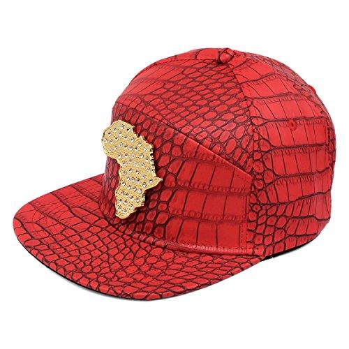 de Snapback de del hebilla de Afican Hombre del de Gorra Mapa cocodrilo del tachonado plana la ala Rojo sombrero PU béisbol de patrón MCSAYS cuero cinturón UznOw