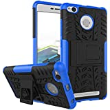 WOW Imagine™ Defender Tough Hybrid Armour Shockproof Hard PC + TPU with Kick Stand Rugged Back Case Cover for XIAOMI MI REDMI 3S PRIME - Blue