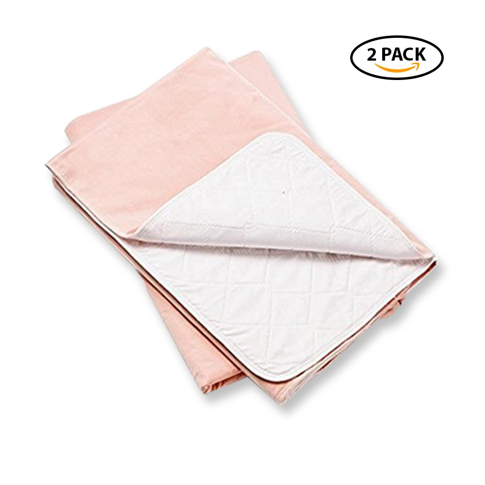 Platinum Care Pads™ Washable Pink Large Standard Reusable Bed Pads/Hospital Underpads, For use with Incontinence and pets size 34x36 in, Pack of 2