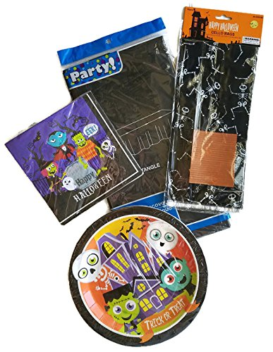 Halloween Witch, Ghost and Frankenstein Party Supplies Paper Plate and Napkin Bundle Set of 4 Includes Plates, Napkins, Party Bags and Tablecloth - Service for 12