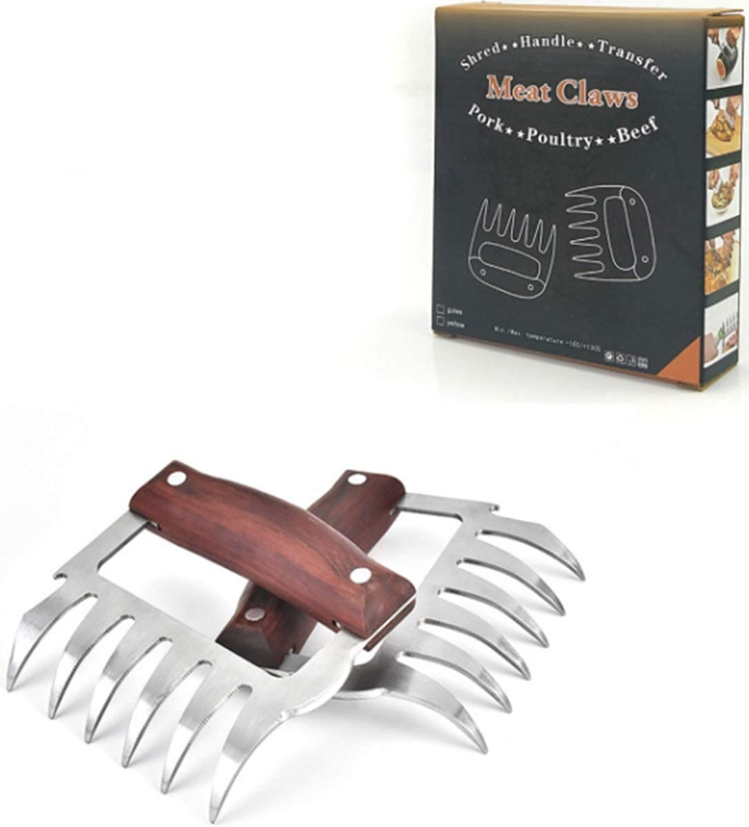 Bear Claws for Lifting and Carving BBQ Claws Beef Cold Turkey 2 PCS Best for Chicken Premium Stainless Steel Pork Shredder JUPAI 3-in-1 Meat Shredder Claws Red Meat