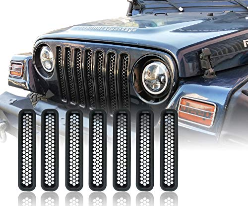 u-Box Jeep TJ Front Grille Inserts Mesh Honeycomb in Black for 1997-2006 Jeep Wrangler & Wrangler Unlimited (2004 Grill Insert)