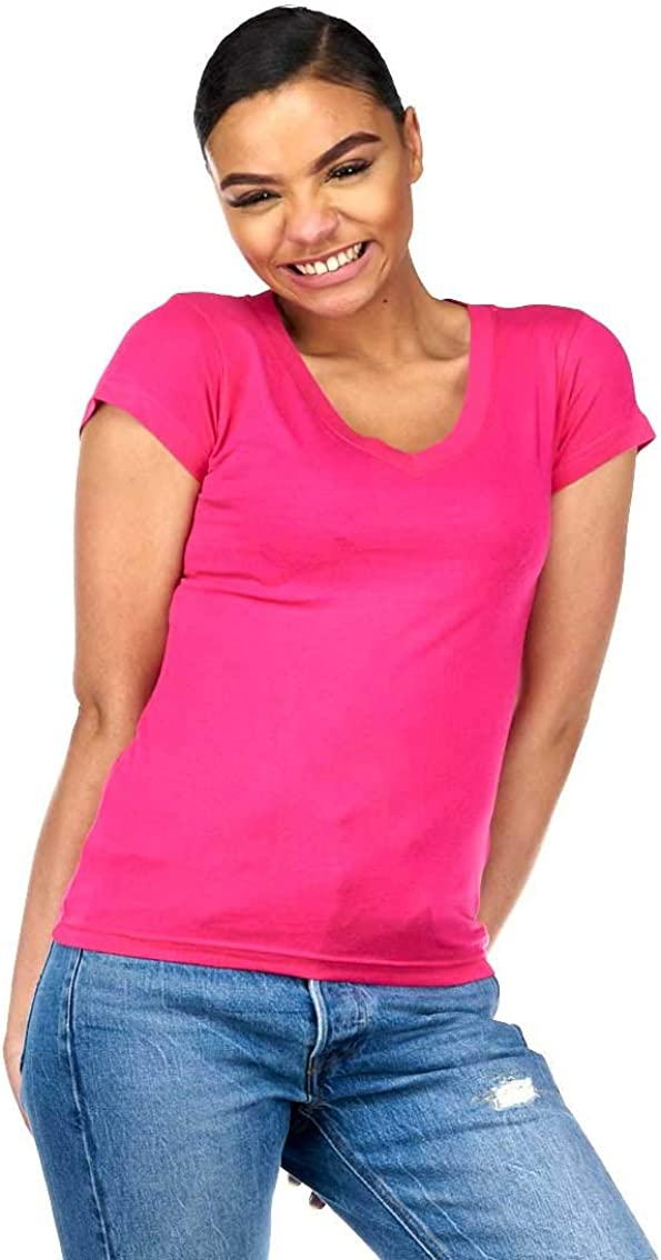Baumwolle einfarbig Killer Whale T-Shirt mit V-Ausschnitt f/ür Damen