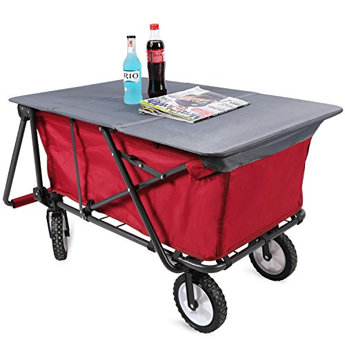 REDCAMP Collapsible Utility Cart for Camping, Folding Wagon With Tabletop All Terrain Perfect for Outdoor Beach Sport, Red