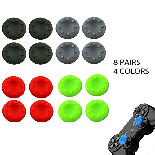 WELLSKEY 8 Pairs Thumb Grip Stick Cover For PS4 PS3 PS2 XBOX 360 ONE WII - Case Skin Joystick Controller - Pack of 16 pcs (4 Black + 4 Gray + 4 Red + 4 Green) Set # 4