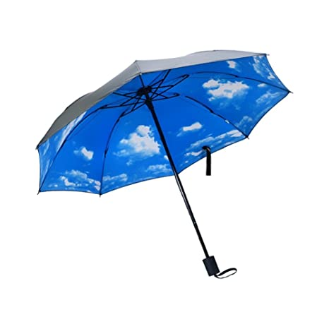 TRADE® Paraguas Viaje compacto a prueba de Viento Azul Cielo Diseño ergonómico mango plegable protección