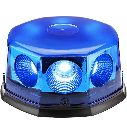 Led Strobe Light,Emergency Beacon Amber Light 40 Watt 10 Modes Powerful Magnet Warning Flashing Bright Waterproof Emergency Vehicle Lights with Dust Cover(Blue) ()