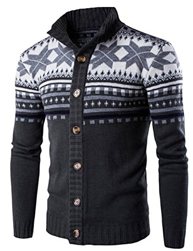 LETSQK Men's Casual Slim Fit High Collar Button Up Knitted Sweater Cardigans Darkgrey XXL