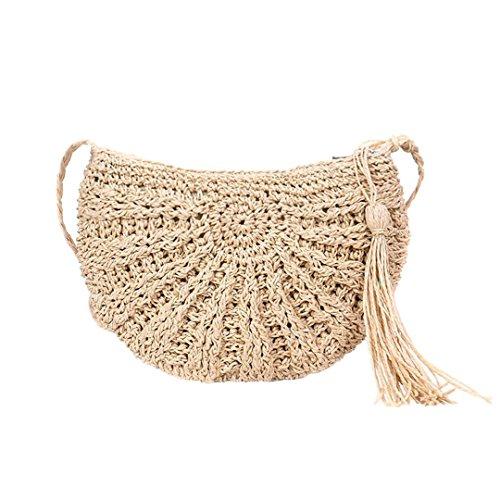 N Female Handbag Ladies Summer Beach Straw Bags Women Travel Tassel Shoulder Bag Crossbody Hand-made Casual Beige Beige Ss3079