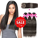 DSOAR Brazilian Straight Hair 3 Bundles With a Free Part Lace Closure 100% Unprocessed Virgin Human Hair Weave Bundles Natural Color(14″16″18″with 12″) For Sale