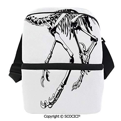 SCOCICI Insulated Lunch Cooler Bag Skeleton Prehistoric Wild Animal Raptor Predator Bones Extinct Species Archeology Decorative Reusable Lunch for Men Women Heat Insulation,Heat Protection]()