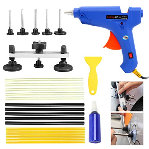YaeTek Paintless Dent Repair Removal PDR Tools Auto Body Kit Puller Bridge Hot Melt Glue Gun 15 Glue Sticks Set