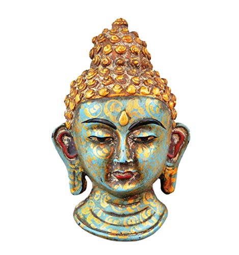 (Shri Surya Handicrafts Collectible Antique Resin Buddha mask Wall mask Wall Hanging Wall Sculpture Buddha Head Face for Home décor Gift)