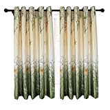 Green/Yellow Curtains for Living Room - Anady 2 Panels Maple Tree Short Curtains
