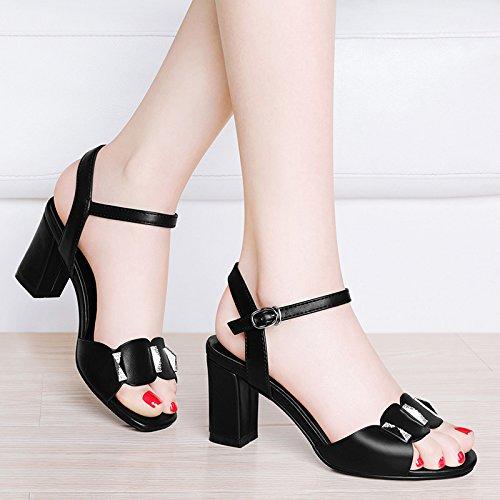 HUAIHAIZ Tacones de mujer Sandalias de tacón femenino zapata Fashion show de mediana edad zapatos botas,36, negro 36|Black