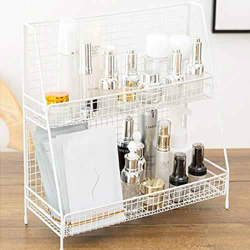 S.H. White 2 Tier Wire Basket Bathroom Organizer Shelves Cosmetic Makeup Organizer Dresser Countertop Storage Spice Rack Desktop Freestanding Jars Bottles -