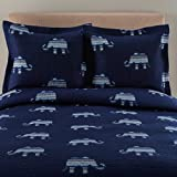 3 Piece Navy Blue Stripes Elephant Theme Quilt King Set, Cute Fun All Over Wild Safari Striped Animal Bedding, Stylish Boho Chic Horizontal Stripe Elephants Themed Pattern, Light Off White