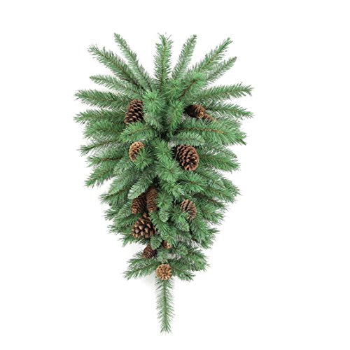Admired By Nature GXW4925-NATURAL 72 Tips Christmas Teardrop Swag with Natural Pine Cone, Green ()