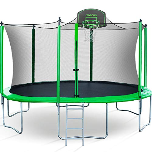 Merax 14 FT Round Trampoline with Safety Enclosure, Basketball Hoop and Ladder (Upgraded with PVC Pad + Ball Stop Net) (Best Trampoline Basketball Hoop)
