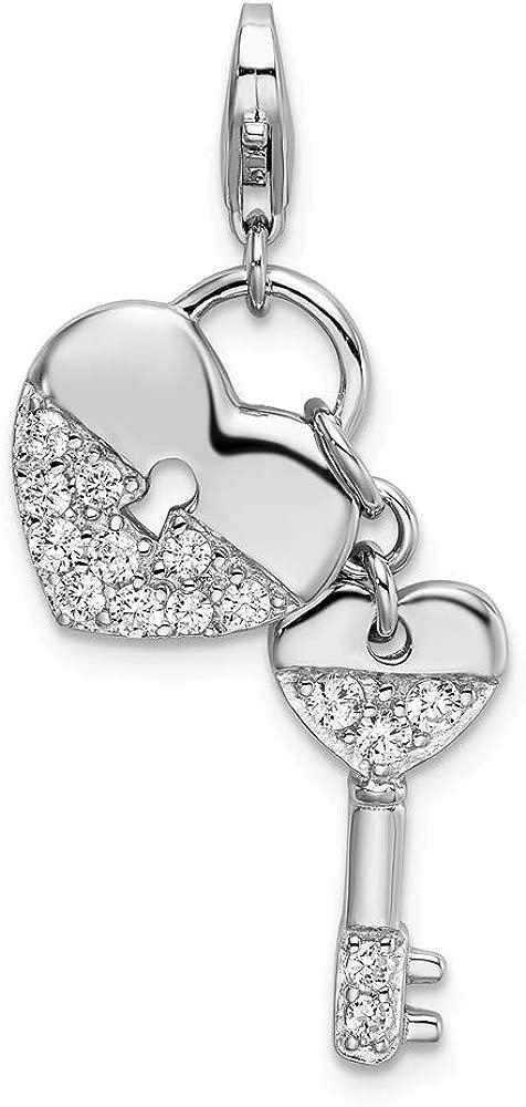 Sterling Silver Rhodium-plated CZ Heart Key w//Lobster Charm