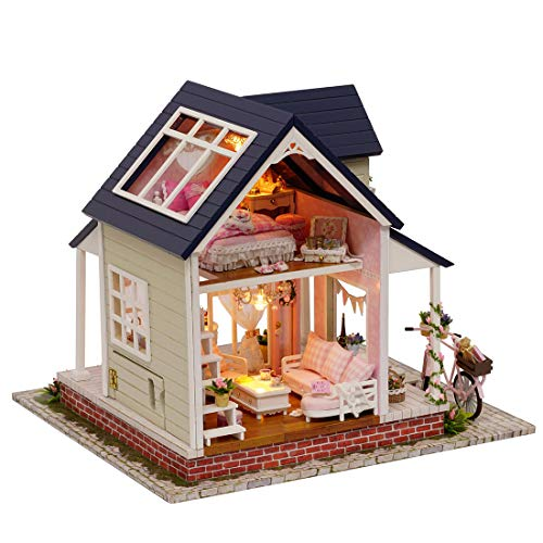 HMANE Dollhouse Mini Furniture 3D Assembly DIY Miniature Ornament Kit Cottage Lovely Bicycle with LED Light ()