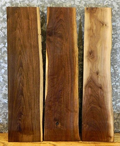 3-Partial Live Edge Black Walnut Wood Slabs/Kiln Dried Lumber Boards