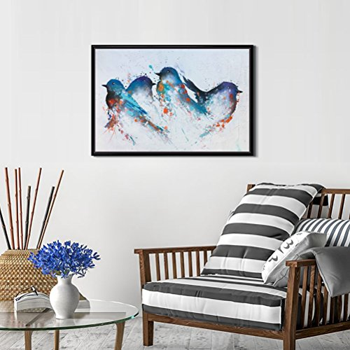 Modern Canvas Wall Art Animal Oil Painting for Home Decor-Abstract Hand-painted Blue Bird Framed Gallery Artwork with Floater Black Frame for Living Room Bedroom Decor 16x24