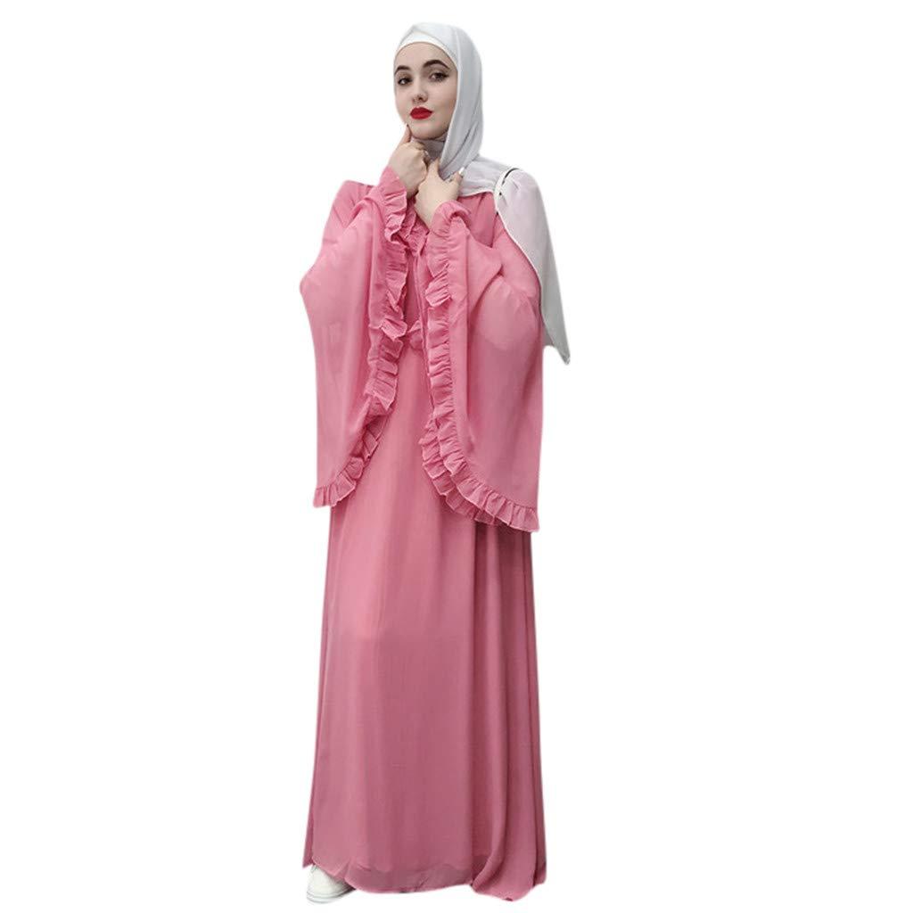 Women Muslim Maxi Dress Flowy Long Sleeve Abaya Kaftan Dress Elegant Empire Bell Sleeve Dubai Robe Gown Outfits Belt S-2XL (Pink, 2XL/Bust:48'')