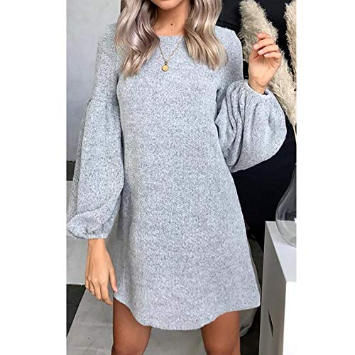 Robe Bodycon Couleur en Large Gris Manchon Unie Femme Mini Tricot Manche Shujin Robe Neck Col Rond Pull O Lanterne Automne Hiver Sexy 5ZAxq