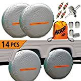 Tire Covers for RV Wheel -Trailers Tire Covers Set of 4 and Tire Tools 14 Sets for Motorhome Wheel Covers RVS,Boat,Waterproof Reflective Safety Tire Protectors Fits 26'' to 29'' Wheels (4PCS)
