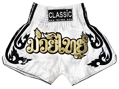 Classic Muay Thai Kick Boxing Shorts : CLS-016-White - Classic Muay Thai Shorts