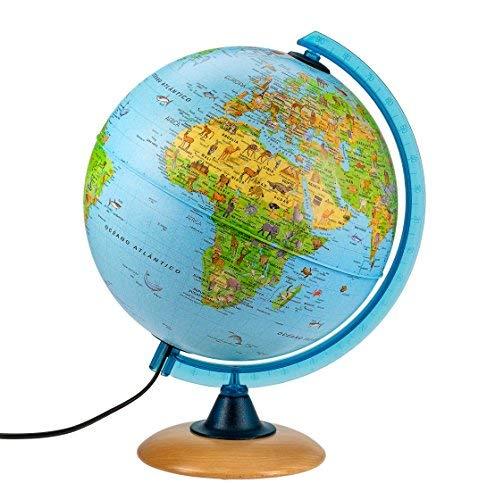 Interkart Mappamondo per bambini, Globo luminoso per bambini, diametro 25 cm, testo in spagnolo Tecnodidattica