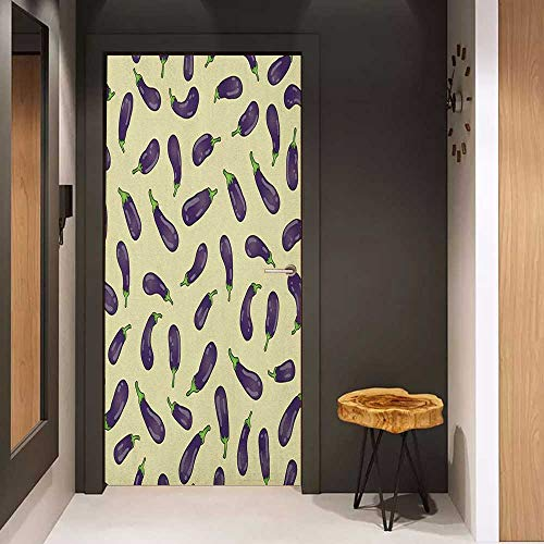 (Onefzc Door Wallpaper Murals Eggplant Eggplants and Pale Yellow Background Fresh Delicious Meals Lunch Dinner WallStickers W38.5 x H79 Pale Yellow Purple)